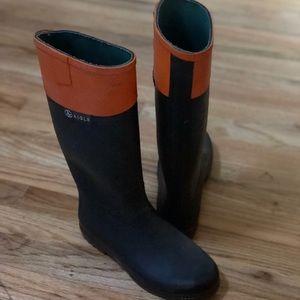 Aigle Brown and Orange Rain boots